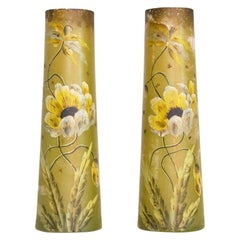 Set of Two Hand Painted Glass Vases with Floral Decoration