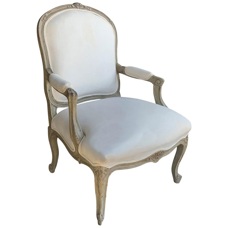 19th Century French Louis XV Style Painted Fauteuil For Sale