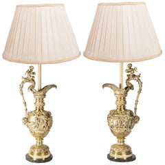 Pair of Classical Ormolu Ewers or Lamps