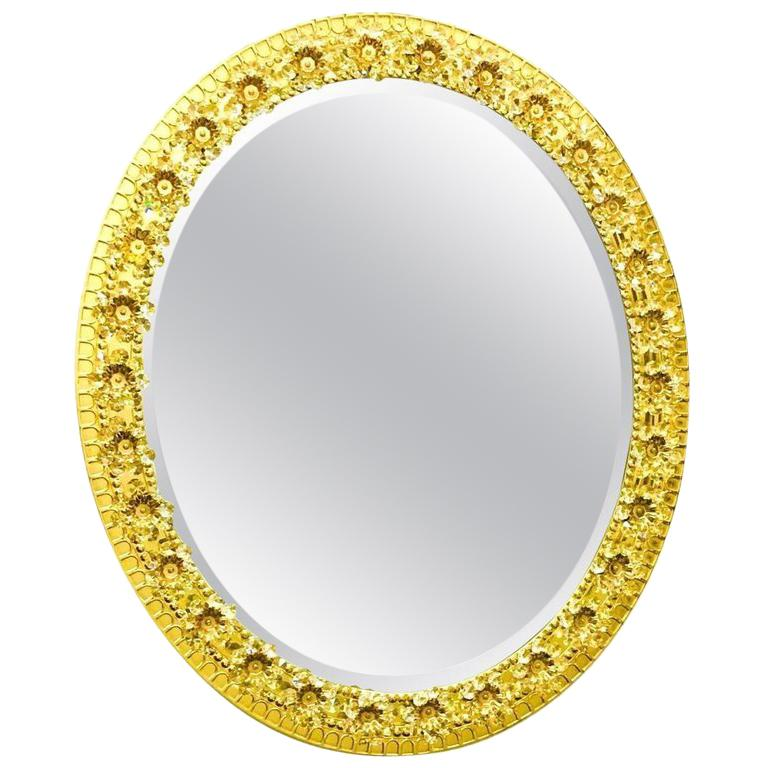 Oval Gold Plated Brass and Crystal Flowers Mirror by Palwa, circa 1960s For Sale