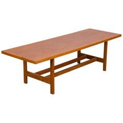 Scandinavian Rectangular Oak Coffee Table with Shelf