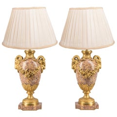 Pair Classical Louis XVI Style Marble and Ormolu Urns or Lamps, 19th Century