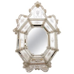 Venetian Glass Etched Wall Mirror