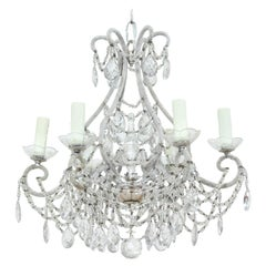 Italian Silver Gilt Crystal Beaded Chandelier