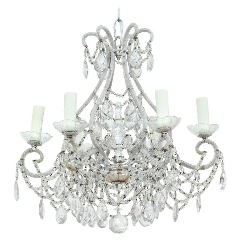 Italian Silver Gilt Crystal Beaded Chandelier For Sale