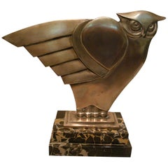 Art Deco Owl Silvered Bronze Sculpture, G.H. Laurent, France, 1930