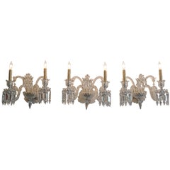 Three-Piece French 1970s Diamantes Baccarat Crystal Electrified Wall Sconces