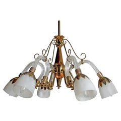 Ercole Barovier Style Art Deco Murano Glass and Brass Italian Chandelier, 1940s
