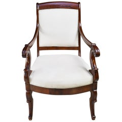 Set of Four French Charles X Armchairs in Mahogany with Upholstery, circa 1825