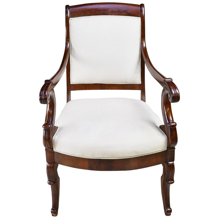 Set of Four French Charles X Armchairs in Mahogany with Upholstery, circa 1825 For Sale