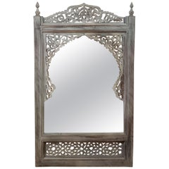 Moroccan Hand Carved Wooden Mirror, White