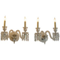 Pair of French 1970s Bambous Baccarat Crystal Electrified Wall Sconces