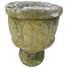 Pair of Spanish 18th Century Carved Limestone Vases