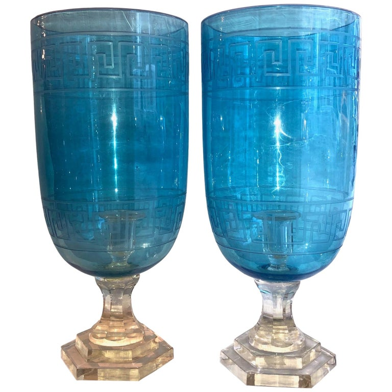 Pair Of Etched Glass Hurricanes At 1stdibs