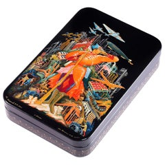 Palekh Lacquered Miniature Box, Limited Edition Licensed Museum Reproduction
