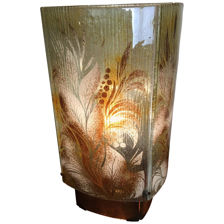 Fused Glass Fauna Inspired Table Lamp For Sale