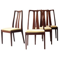 Midcentury Modern Yellow Brown Teak Set Four English Chairs, United Kingdom 1970