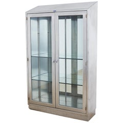 Industrial Steel Glass Door Apothecary Display Cabinet