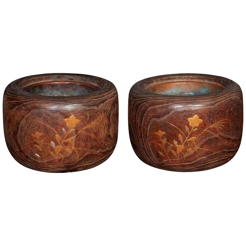Late 19th Century Wood and Copper Brazier / Hibachi