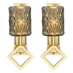 Murano Glass Modernist Diamond Sconces