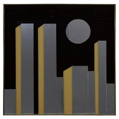 1980s 'NYC Skyline at Night' Mirror in the Style of Harvard Reflections Mirrors