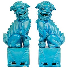 Pair of Chinese Turquoise Ceramic Dogs of Foo 20th Century