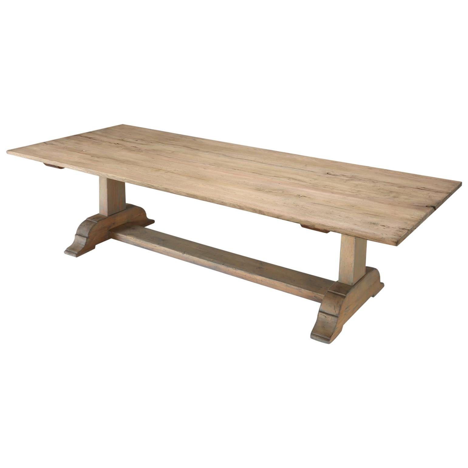 Italian Style Ash Wood Trestle Dining Table For Sale