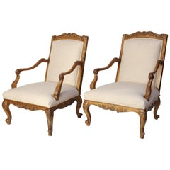 Pair of Large Vintage Baker Furniture Regence-Style Fauteuil Armchairs