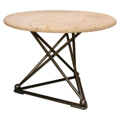 Tripod Nickel Finish Steel Base with Round Fossil Stone Top