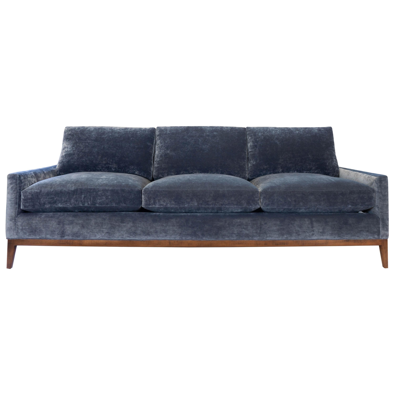 Mid-Century Modern Sofa in Blue Velvet