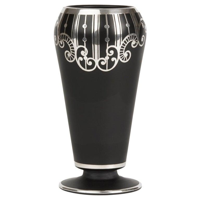 American Art Deco Rockwell Silver Overlay Glass Vase