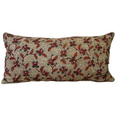 Floral Red Blue Blockprinted Pillow French, 18th Century