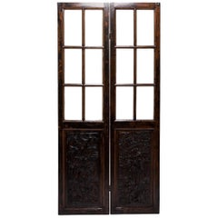 Pair of Early 20th Century Chinese Carved Glass Doors