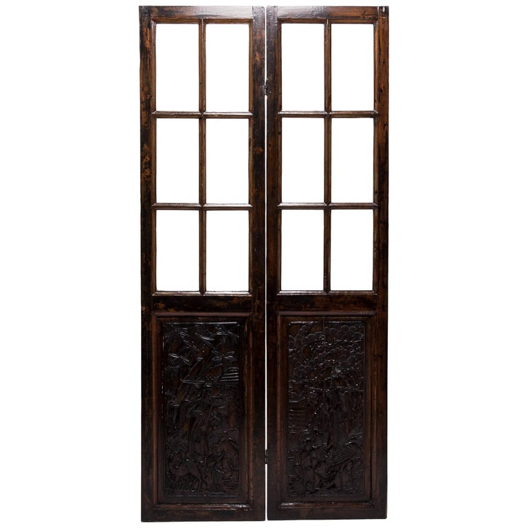 Pair of Early 20th Century Chinese Carved Glass Doors For Sale