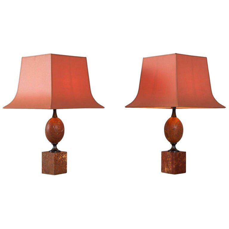 Matching Pair of Elegant Lights by Maison Barbier in Rare Red Travertine For Sale