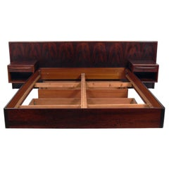"Danish Modern ""Floating"" Rosewood Bed with Integrated Nightstands"
