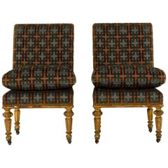 Pair of 19th Century Louis XVI Style Giltwood Slipper Chairs on Casters