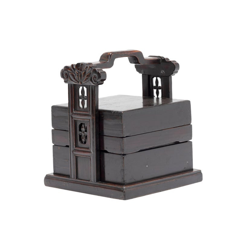 19th Century Chinese Black Lacquer Stacking Box