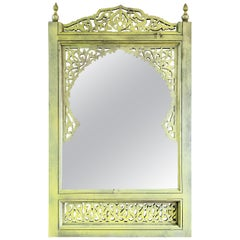 Moroccan Hand Carved Wooden Mirror, Yellow
