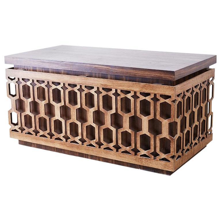 Midcentury Geometric Johnny Carson Style Desk For Sale