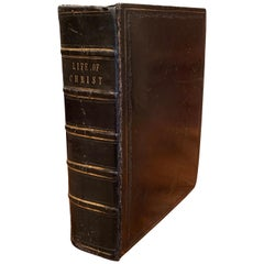 "19th Century English Black Leather Bound with Gilt ""Life of Christ"" Dated 1857"
