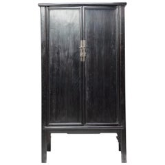 Chinese Black Lacquer Scholar's Cabinet, c. 1850