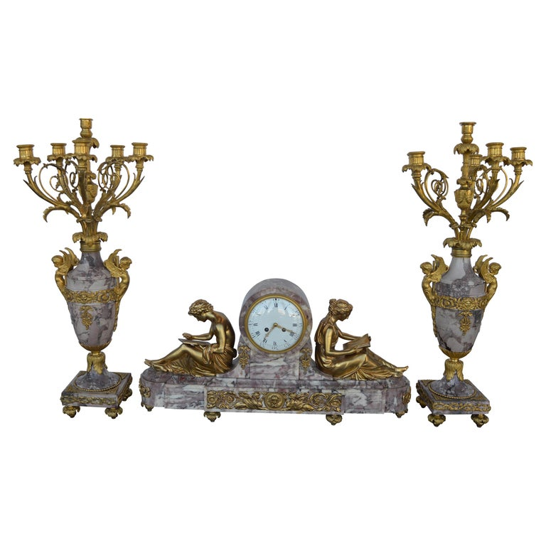 19th Century Gilt Bronze Ormolu and Marble Clock Set For Sale