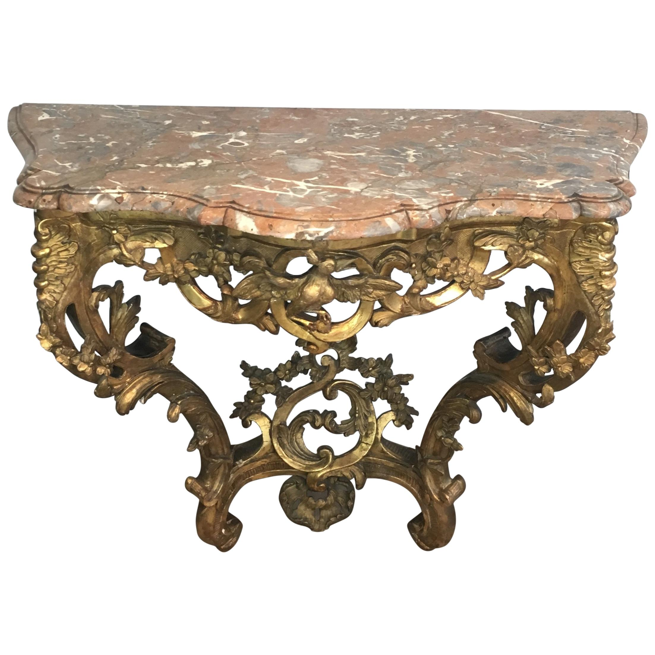 French 18th Century Giltwood Console Table with Red Marble Top, Louis XV Period