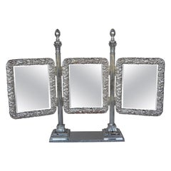 Bronze Silver Plated English Vanity Mirror