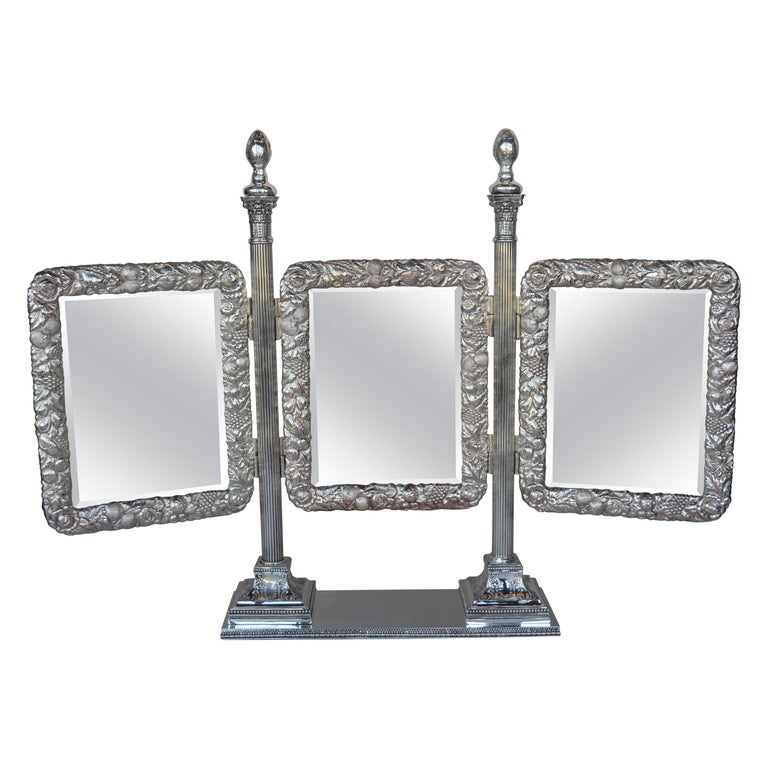 Bronze Silver Plated English Vanity Mirror For Sale