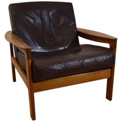 1960s Teak and Leather Chair by Komfort Designed by Anne Wahl Iverson
