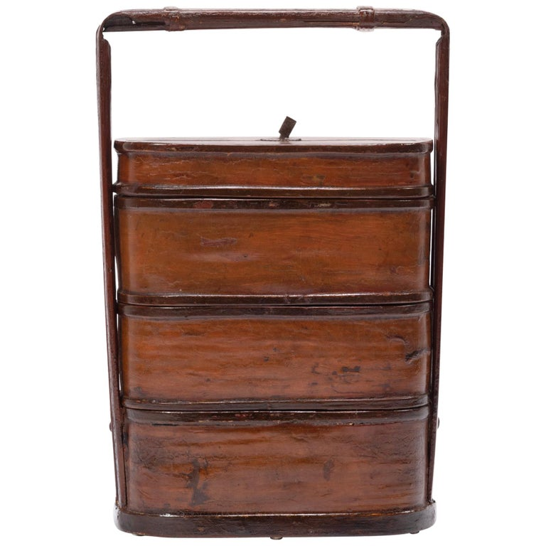 Early 20th Century Chinese Bamboo Stacking Box For Sale