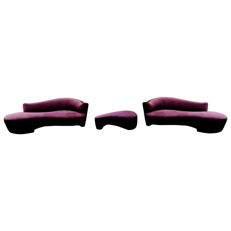 Contemporary Modern Purple Serpentine Cloud Sofas & Ottoman, Weiman For Sale