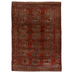 Early 20th Century Afghan Ersari Carpet, Red Field